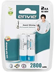 Envie AA R06 Mignon Envie Ni-MH 2800 2X AA Mah Rechargeable Batteries (White)