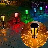 Solarleuchten Garten Außen,Bernstein und RGB,Auting 6 Stück LED Wegeleuchten,Solarlampen für Außen Solarleuchten Garten Terra