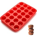 SveBake – Lot de 24 mini moules à muffins – En silicone – Avec revêtement antiadhésif – Pour muffins, cupcakes, brownies, gât