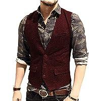 LoveeToo, Gilet da uomo in tweed con vestibilità aderente, per sposo, formale, per lavoro, personalizzabile
