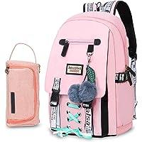 Bevalsa Schulrucksack mit Federmäppchen Schultaschen-Set für Mädchen Teenager Damen Schulranzen Modisch Rucksack Campus…