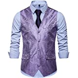 JOLIME Men's Paisley Swirl Floral Jacquard Waistcoat Formal Wedding Suit Vests with Pockets