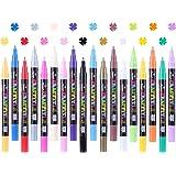 Akrylpennor för stenar måla – 18 färger permanent penna markeringsset, 0,7 mm fin spets pennor akrylpenna tunn vattentät för