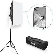 ESDDI Softbox Dauerlicht Fotostudio Set Tageslicht Studioleuchten Kit Fotolicht Soft-Box mit 85W Fotolampe Stativ Tragetasche
