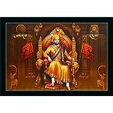 FLORETO Shivaji Maharaj UV Textured Synthetic Framed Painting (14x14 inch, Multicolour, Medium)