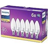La lampe LED Philips remplace le blanc chaud (2700 Kelvin), 470 lumens, bougie, Plastique, blanc chaud, E14, 5.5W, 240V