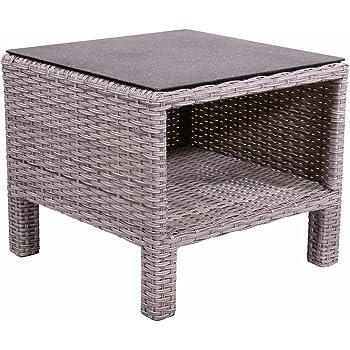 Beistelltisch Aus Polyrattan Geflecht Grau. Wetterfester Gartentisch,  Spraystone Tischplatte Und Alu Gestell