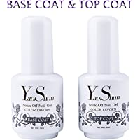 Top Base Coat Semi Permanent - Y&S UV LED Vernis à Ongles Top Coat Vernis Gel et Base Coat Vernis Semi Permanent Soak Off Nail Polish 2 x  8ml