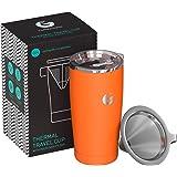 Kaffegator häll över bryggare mugg – allt-i-ett-termisk resemugg och handdroppad kaffemaskin – vakuumisolerat rostfritt stål