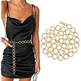 WERFORU Damen Gürtel Mode Metall Kettengürtel für Party Kleider Körper Bauch Taille Kette Bikini Strand Legierung Taille Kett
