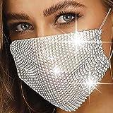 Simsly - Maschera per viso in rete con strass, riutilizzabile, in cristallo, per Halloween, discoteca, decorazione a rete, pe