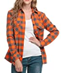 Oyamiki Womens Casual Cuffed Long Sleeve Boyfriend Button Down Plaid Flannel Shirt Tops