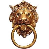 Metaldecor Brass Lion Face Door Knocker (Standard, Yellow Antique)