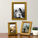 Art Street Golden Set of 3 Photo Frames for Table Top Display and Wall mounting Picture Frame Home DecorSize4X6, 5X7, 8X10 In