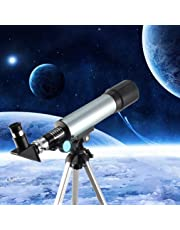 Prakal Telescope, Travel Scope, 90 X Refractor Telescope, Astronomy Telescope Tabletop Nature Exploration Gifts Toys for Kids, Adults Sky Star Gazing, Birds Watching