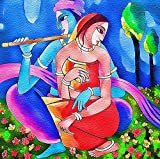 Printelligent Canvas Paintings - Radha Krishna Paintings - Large Size Unframed Rolled Canvas Art Print For Home And Office Décor (48 x 48 inches)