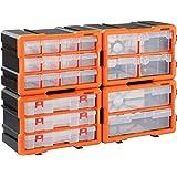 Monzana Organizador caja de almacenaje transparente para herramientas tornillos 72 compartimentos