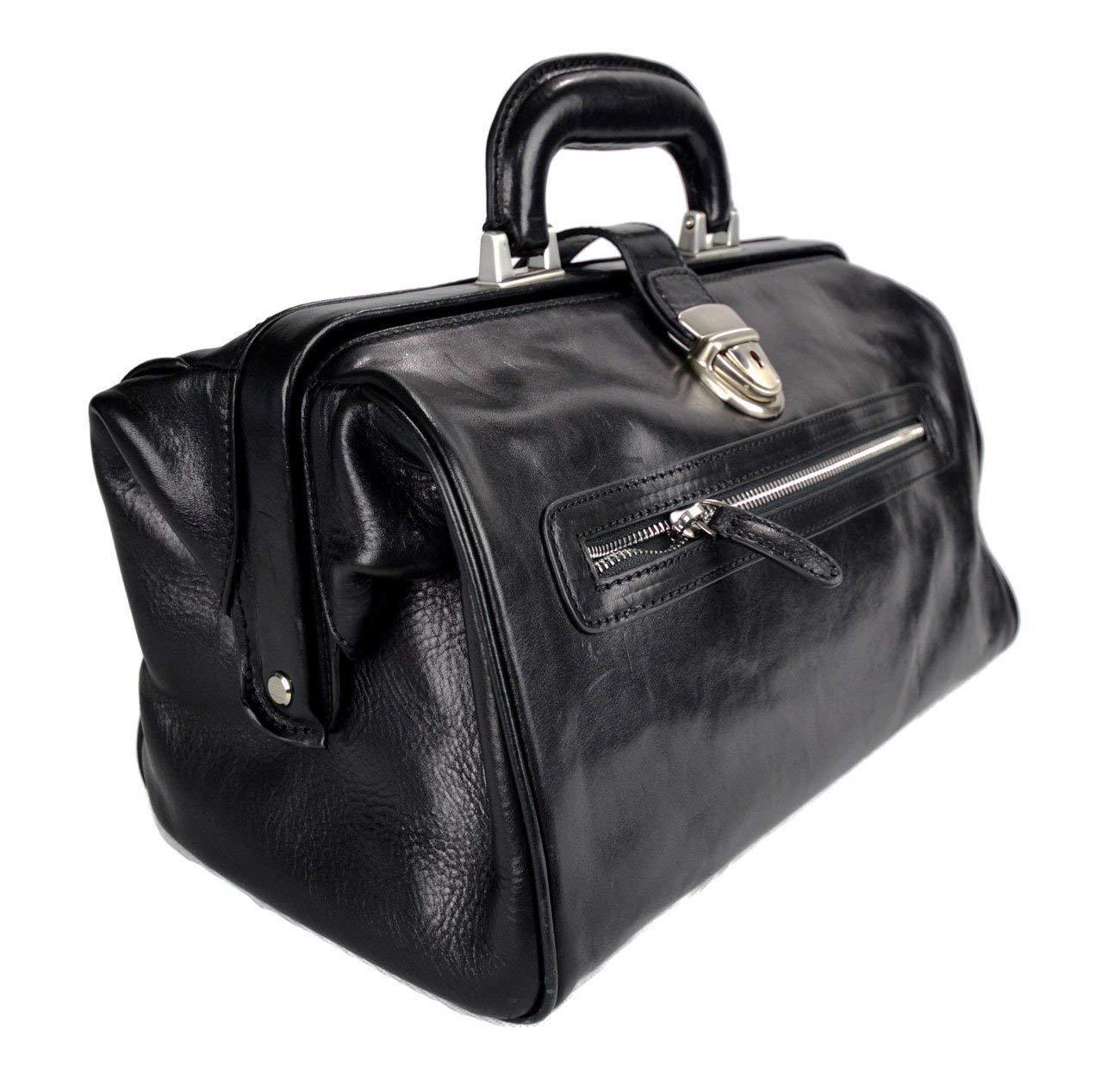 Leather doctor bag medical bag handbag ladies men leatherbag vintage medical bag retro doctor bag made in Italy luxury bag weekender black - handmade-bags