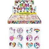 24x Girls Unicorn tatuaggi temporanei da regalare alle feste di compleanno bambini 1-Pack Multi