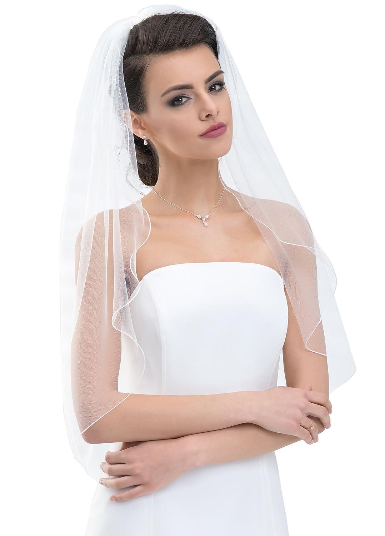 Brautschleier  Schlichter Brautschleier Schleier mit Kurbelkante, einstufig aus ...