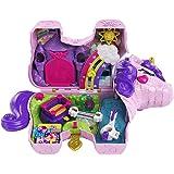 Polly Pocket- Unicorno Magiche Sorprese Playset con Micro Bambole Polly e Lila, Accessori Giocattolo per Bambini 4+Anni, Mult