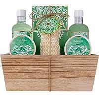 accentra Geschenkset ALOE VERA im Holzkorb Bade-, SPA und Dusch Set Aloe Vera und Green Tea Duft – 7-teiliges Geschenk…