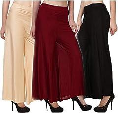 Sri Belha Fashions Women's Malai Lycra Palazzo (SBF-SET-3-Please-01-37, Multicolour, Free Size) - Pack of 3