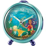 Atrium barnnelly the Mermaid väckarklocka – inget tickande, snooze, ljus, analog, kvarts, blå – A932-13