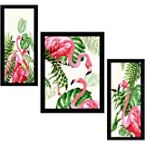 PNF Set of 3 Framed Flamingo Painting(14x22inch, Multi Color, Synthetic Frame)-1753