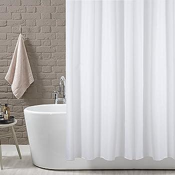 KAV Plain White Polyster Fabric Shower Curtain 180 X 180 Shower