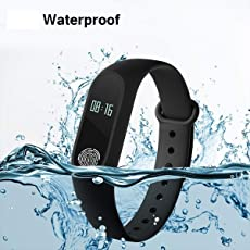 E-QUICK Xiaomi Redmi Note 5 compatible m2 smart band heart rate with sensor and features like water proof sweat free wireless bluetooth fitness watch bands pedometer sleep monitoring functions support all android smartphones and apple ios iphone mobile Black