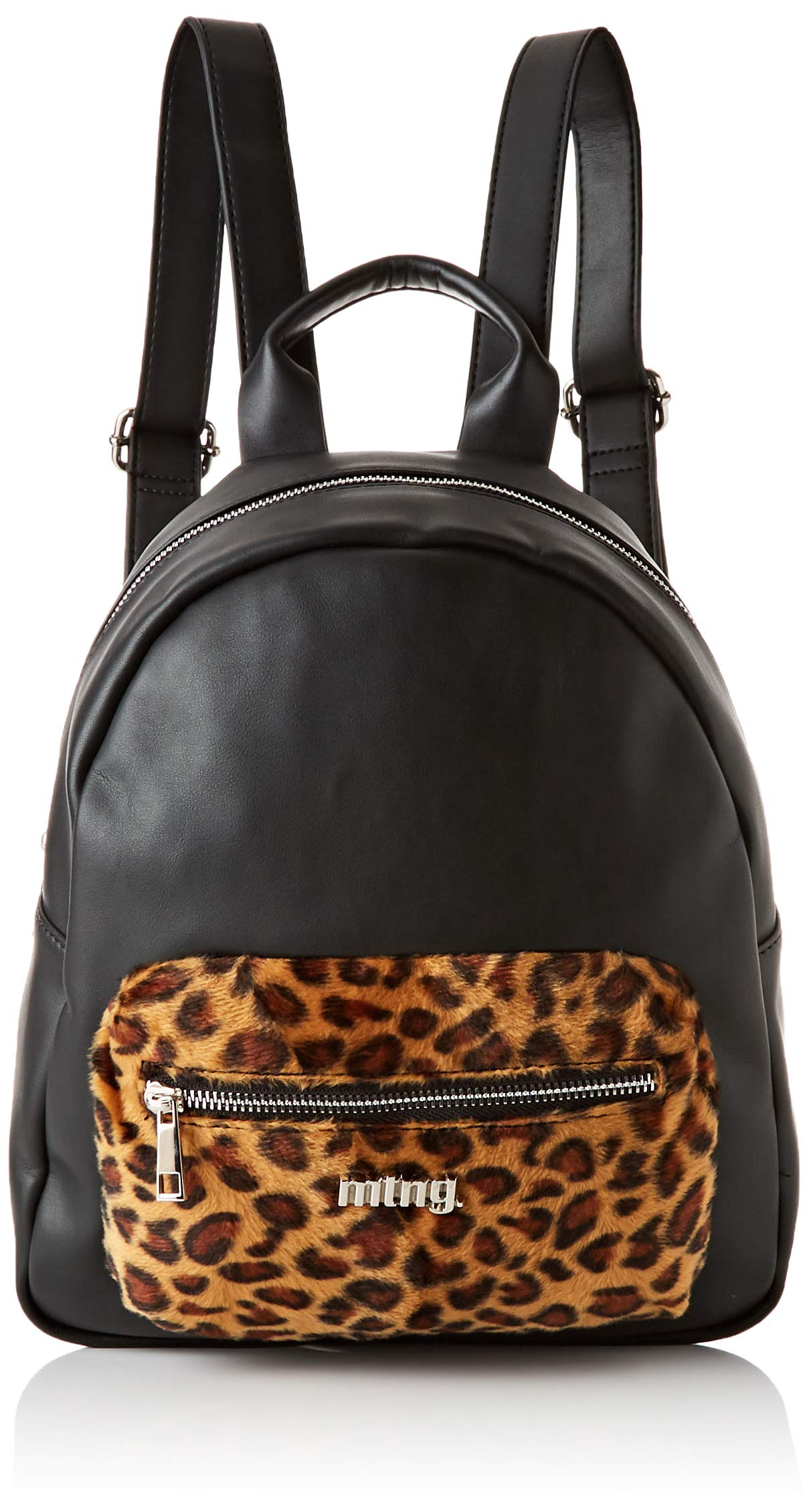 MTNG Lanka, Bolso mochila para Mujer, Negro (Liso Neg/Leop Cuero), 12x32x29 cm (W x H x L)