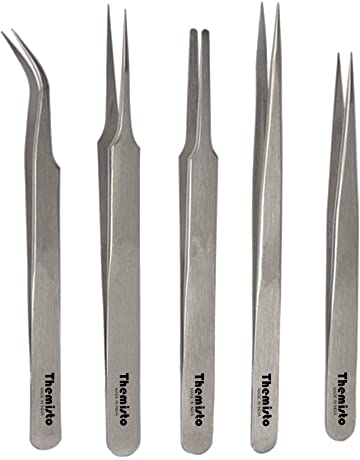 Angle Flat Point Tweezers Needle DURATOOL 4 Piece Tweezer Set inc Straight