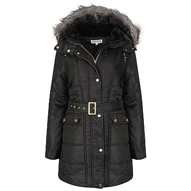Womens Hooded Fur Trim Parka Jacket Ladies Long Winter Padded
