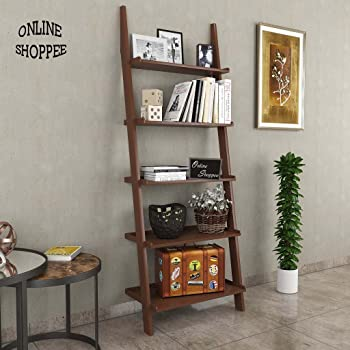 Onlineshoppee Leaning Bookcase Ladder and Room Organizer Engineered Wood Wall Shelf -Brown & DecorNation Jasper Leaning Book Ladder and Room Organizer MDF Wall ...