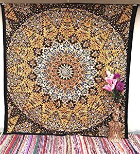 Yellow Black Psychedelic Star Mandala Tapestry Tapestries Wall Hanging Decor Hippie Bedspread Bohemian Decor