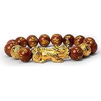 Katomi Bracelet de perles Feng Shui chinois Pi Xiu en obsidienne - Bracelet de richesse avec amulette sculptée à la main…