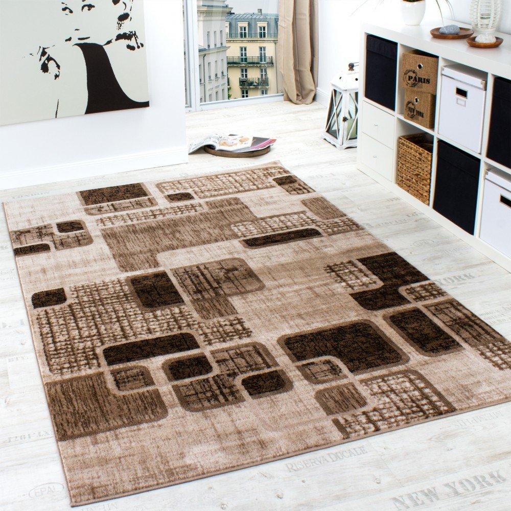 Designer Teppich Wohnzimmer Teppich Retro Muster In Braun Beige