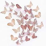 JUNI-H 36 Pièces 3D Papillons Décoratifs Papillon Autocollants Muraux DIY Art Stickers Chambre Bébé Décor Stickers Amovible D