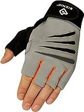 Bionic Glove Men's Cross-Training Fingerless Gloves w/ Natural Fit Technology, Gray/Orange (PAIR)