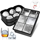 FYLINA Eiswürfelform 45mm Eiskugelform 48mm 6-Fach 2-Set Eiswürfelbehälter Silikon Eiswürfelformen Ice Cube Tray Eiswürfel Form BPA Frei für Whisky Cocktails Saft Schokolade Süßigkeiten
