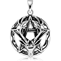 WithLoveSilver Sterling Silver 925 Wiccan Pentagram Pentacle Reindeer Horned God Cernunnos Pendant