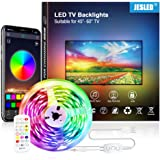 JESLED 3M TV LED Backlight, Smart Bluetooth LED Strip lights with Built-in Mic, Music Sync, RGB Color Changing LED Light Stri