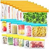 Paquet de 20 Sacs de Rangement Réutilisables, Sacs de Congélation Réutilisables sans BPA, Sacs à Sandwich Réutilisables, Sacs