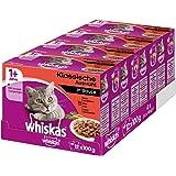 Whiskas 1+ Kattenvoer, Natvoer, in Verschillende Smaken, 48 Porties (4 x 12 x 100 g)