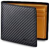 WinCret Portafoglio Nero Uomo con Coulisse e Portamonete - Protezione RFID Portafogli Porta Tessere con finestra di ID. in fo