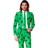 Opposuits Patrick Suit for St. Patrick's Day Coming with Green Pants, Jacket, Tie and Free Shamrock Pin
