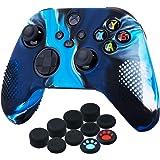 YoRHa Custodia in Silicone Cover Skin per Xbox Series X/S Controller (Blu Mimetico) x 1 con Copri levette Analogiche x 10