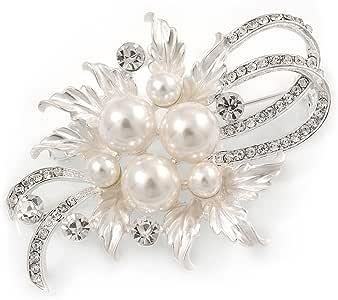 Avalaya squisita spilla floreale in cristallo austriaco con perla di vetro, color argento chiaro, lunghezza 60 mm