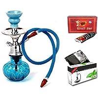 WebelKart JaipurCrafts Combo of 12 Inch Glass, Iron Hookah, 10 Hookah Charcoal Disk Hookah Flavour, Nicotine and Tobacco-free